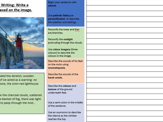 creative   descriptive writing placemat  image prompt