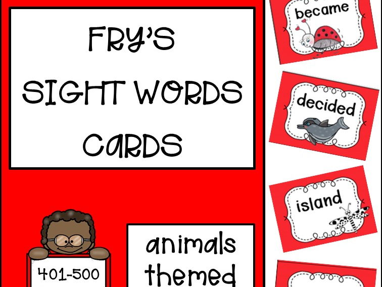Fry's Sight Words Cards fifth hundred - Animals Themed