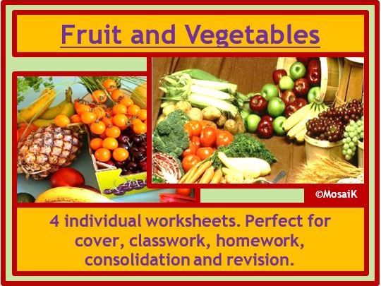 Food Technology: 4 colourful worksheets on fruit and vegetables