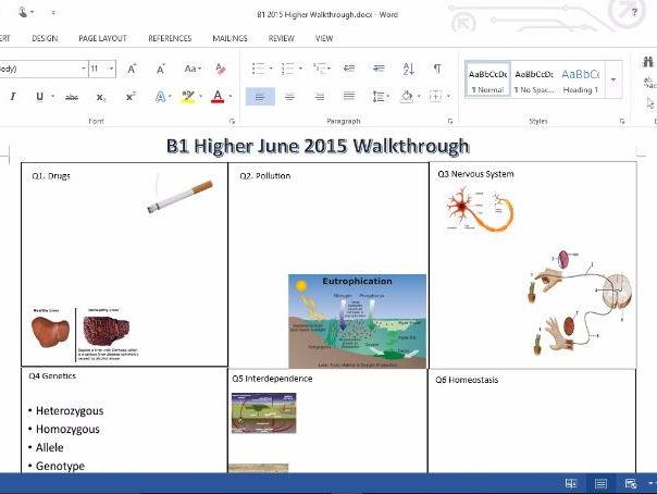 B1 Edxcel 2015 Higher Walkthrough