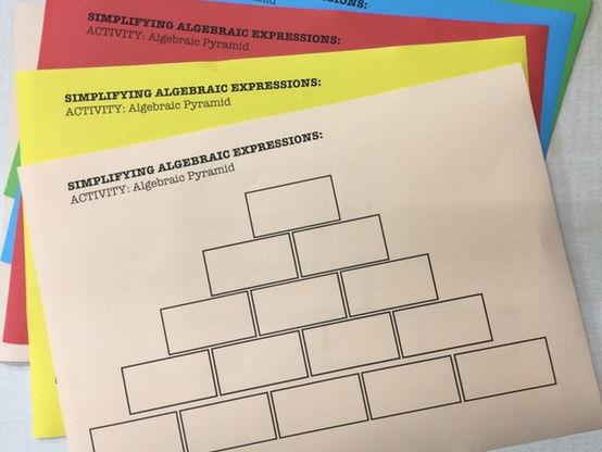 Simplifying algebraic Expressions - Pyramid