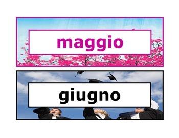 Calendar headings seasonal in Italian