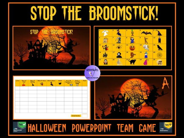 Stop The Broomstick! Halloween Themed  Version of Stop the Bus - Interactive PowerPoint Team Game