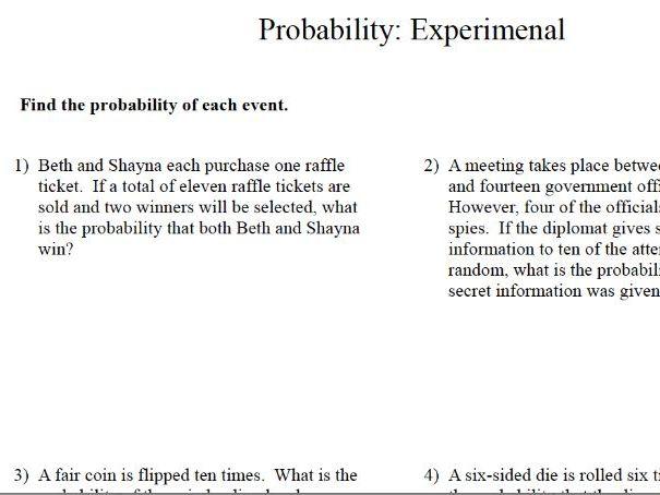 GCSE Maths Revision: Experimental Probability