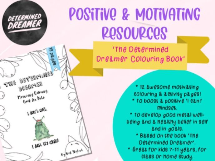 Motivating Kids Colouring pack - to support mental well-being, self confidence, going for goals ++
