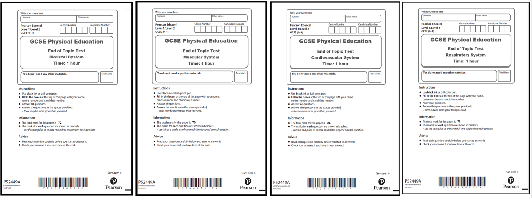 GCSE PE - Edexcel (9-1) - End of Topic Tests for Anatomy and Physiology