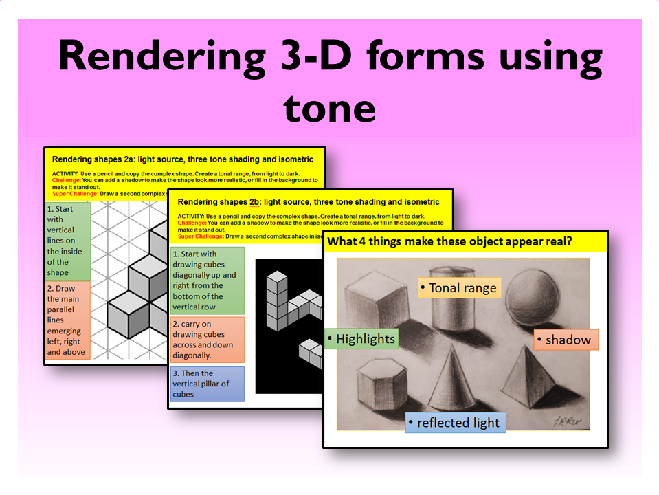 3.Graphic Design Rendering 3D forms tone
