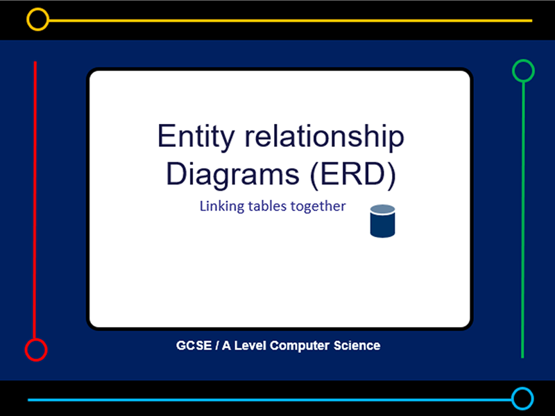 Presentation:   Entity Relationship Diagrams (ERD) (x11 slides)