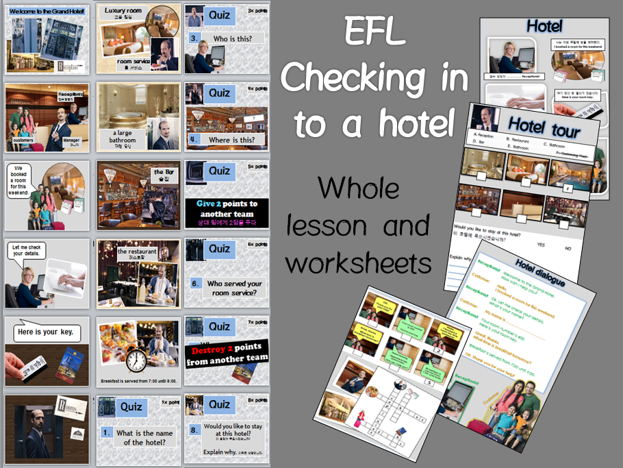 Checking into a Hotel: role play and whole lesson with worksheets EFL TEFL