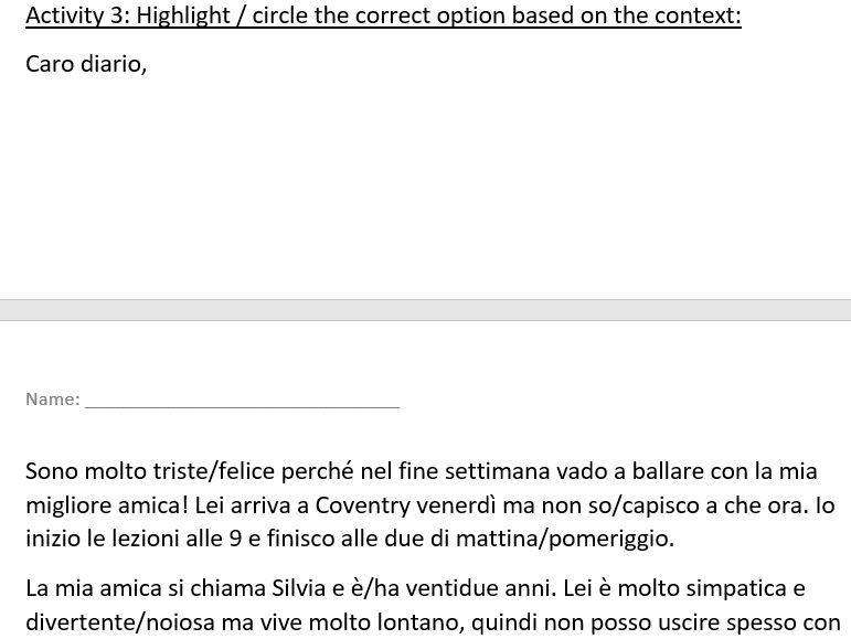 Italian GCSE - Daily Routine Worksheet