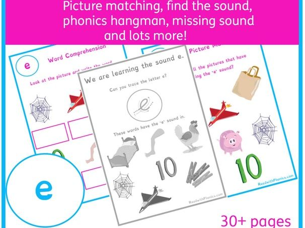 'e' Sound Phonics Bundle | Phonics Resources | Phonics Worksheets | CVC Words