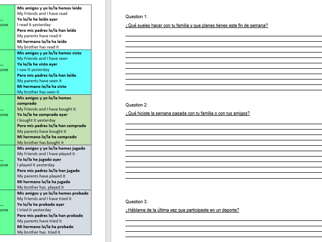 GCSE Spanish Module 4 Speaking Practice Booklet With Sentence Builders