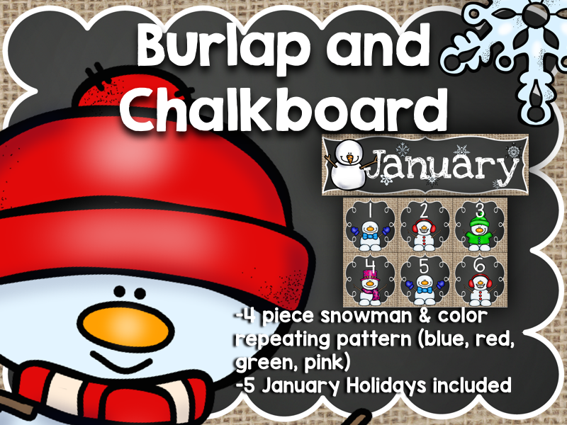 January Calendar: Burlap and Chalkboard