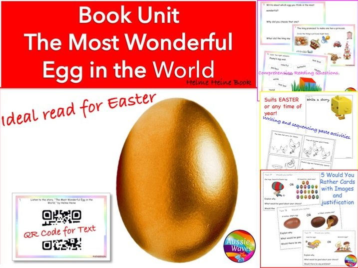 "EASTER Reading Centre Tasks Literature Unit ""The Most Wonderful Egg in the World"" with QR Code book"