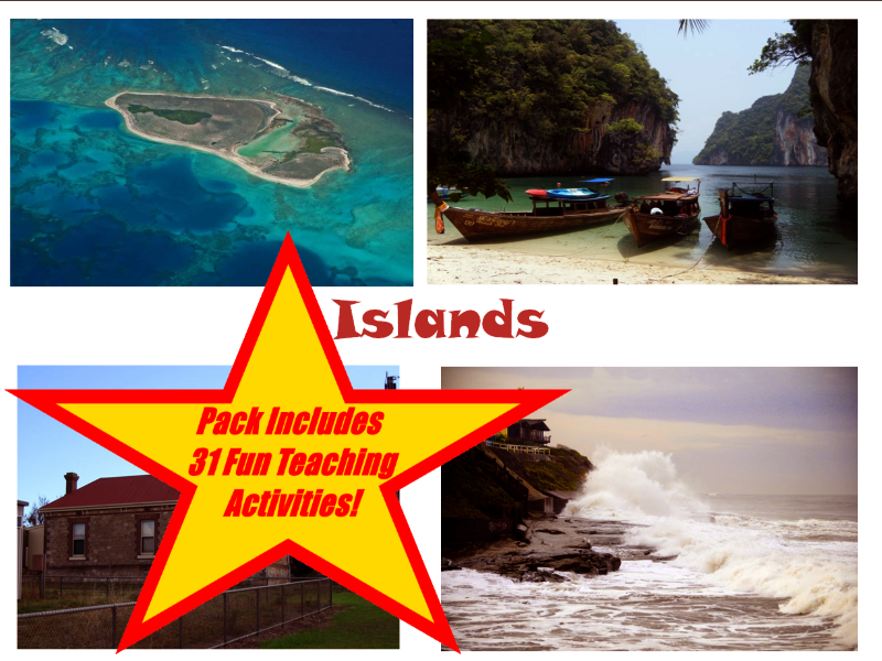 30 Island Photos PowerPoint Presentation + 31 Teaching Activities Teacher Guide To Use In Class.