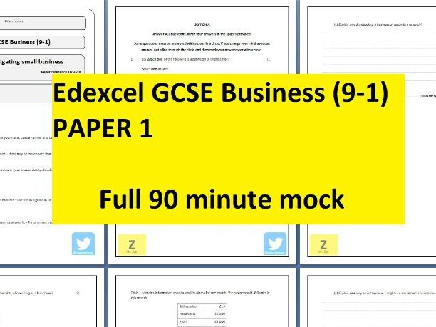 Edexcel GCSE Business (9-1) Mock Paper 1 - 90 min