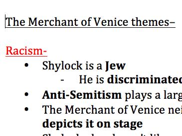 The Merchant of Venice KEY THEMES