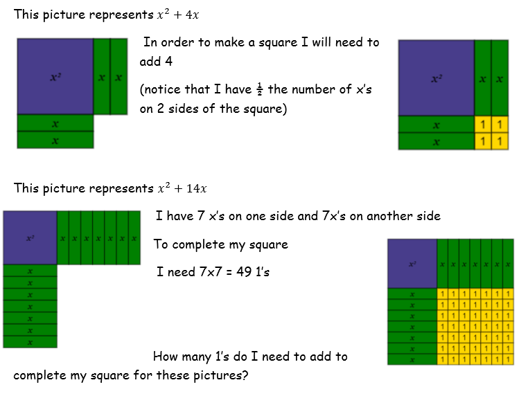 Completing the square home learning - 3 lessons