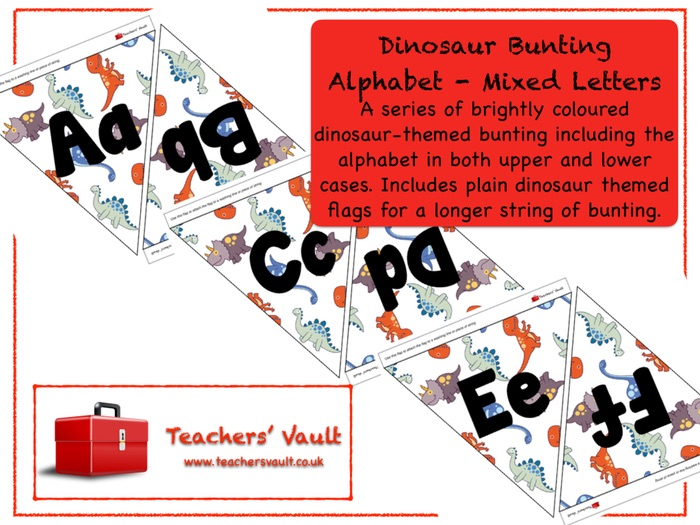 Dinosaur Bunting Alphabet - Mixed Letters