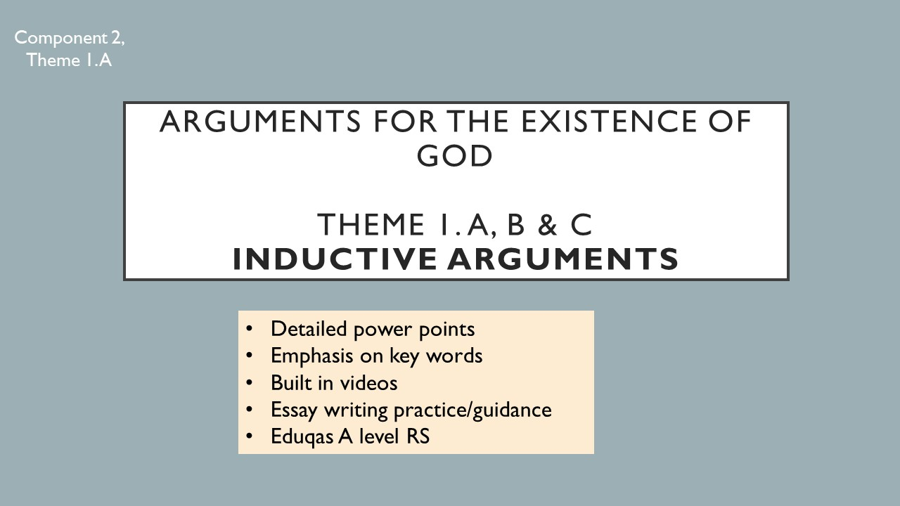 Eduqas Theme 1 A, B, C - Inductive arguments for the existence of God