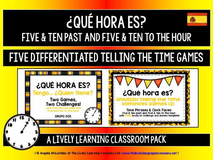 SPANISH TELLING THE TIME (2) - FIVE GAMES & CHALLENGES PACK