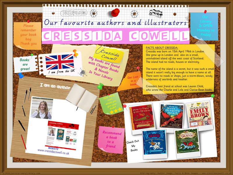 Library Poster - Cressida Cowell Author Of Train Your Dragon Books