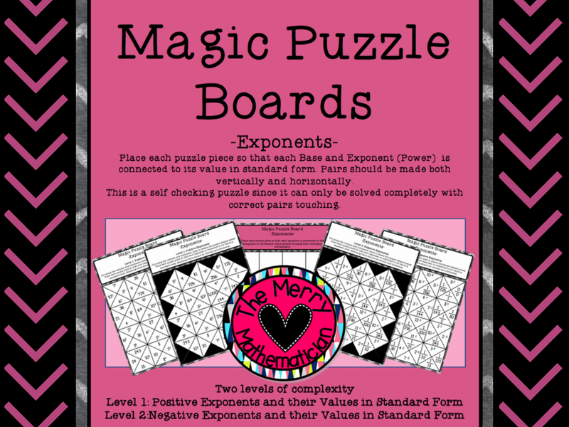 Magic Puzzle Board for Powers/Exponents