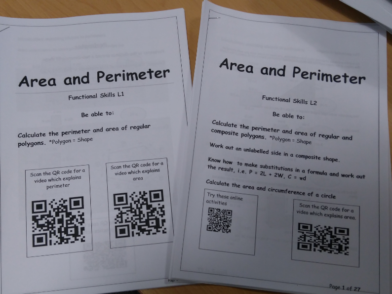 Functional skills maths L1 & L2 Area and Perimeter workpacks. Includes answers.
