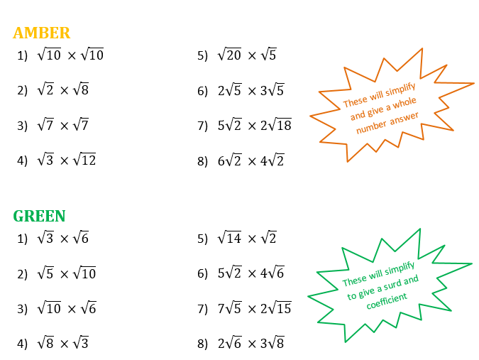 Multiplying Surds Differentiated Worksheet