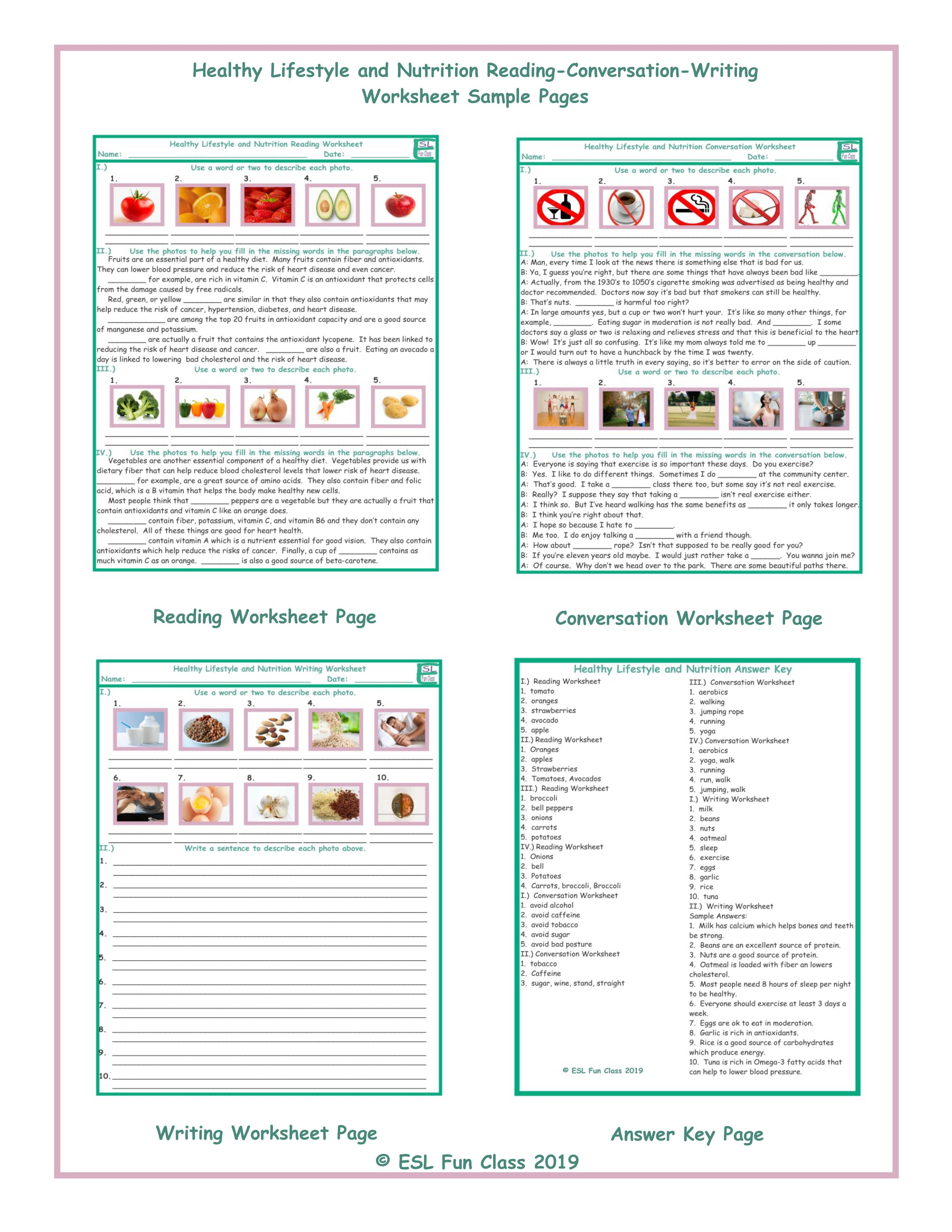 Healthy Lifestyle Nutrition Reading Conversation Writing Worksheets