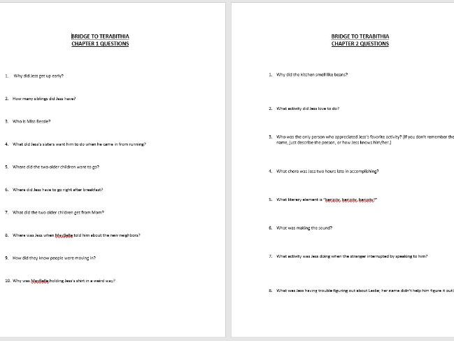 Bridge to Terabithia Chapter Short Answer Questions