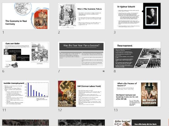 The Economy in Nazi Germany Presentation and Notes sheet