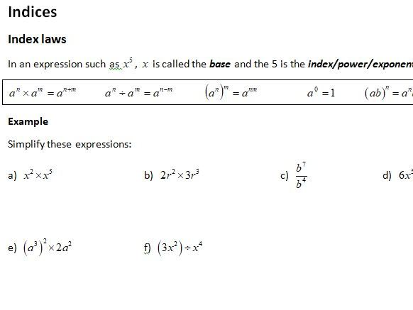 Notes and Examples for Edexcel A Level Maths Year 1 Topic 1: Algebraic Expressions