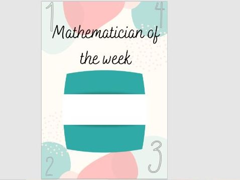 Mathematician of the week