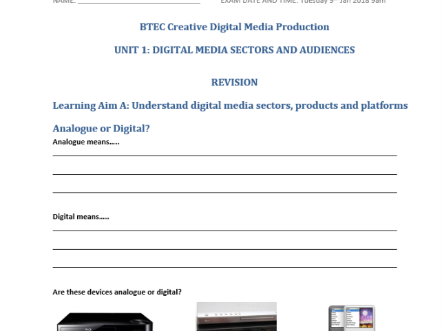 BTEC Creative Digital Media Production Unit 1 Exam Revision