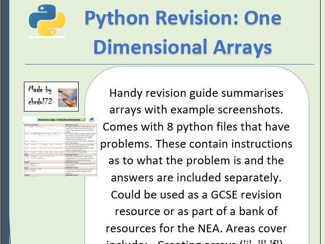 Python revision and activities - One dimensional arrays