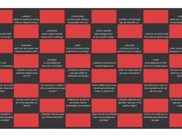 House, Rooms, Furniture and Appliances Spanish Checkers Board Game
