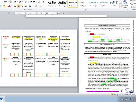 Traffic light assessment booklet of KS3 PE