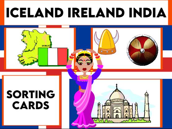 Iceland, Ireland and India Card Sort Activity