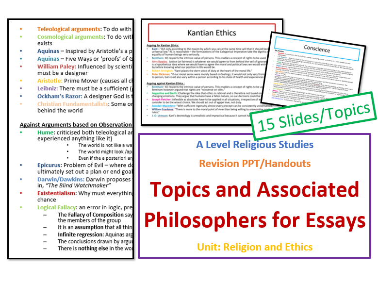 A Level Religious Studies Revision: Topics and Associated Philosophers/Thinkers for Ethics