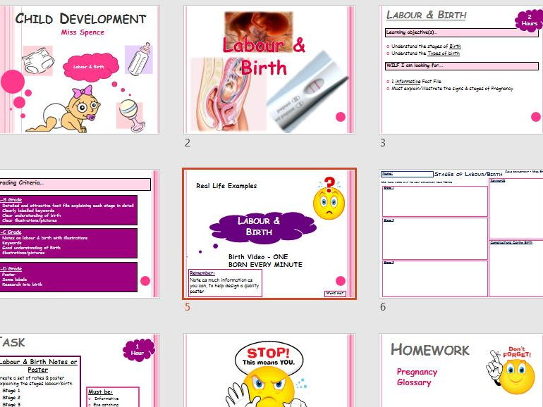 LABOUR & BIRTH LESSON & TASK - 2 HOURS - RESEARCH & PRESENT - CHILD DEVELOPMENT - HEALTH & SOCIAL