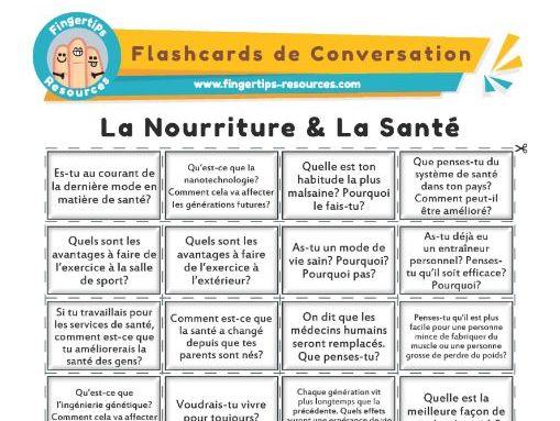 La Nourriture & La Santé  - French Conversation Flashcards