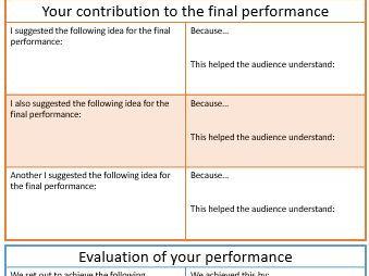 Evaluation Planning sheet