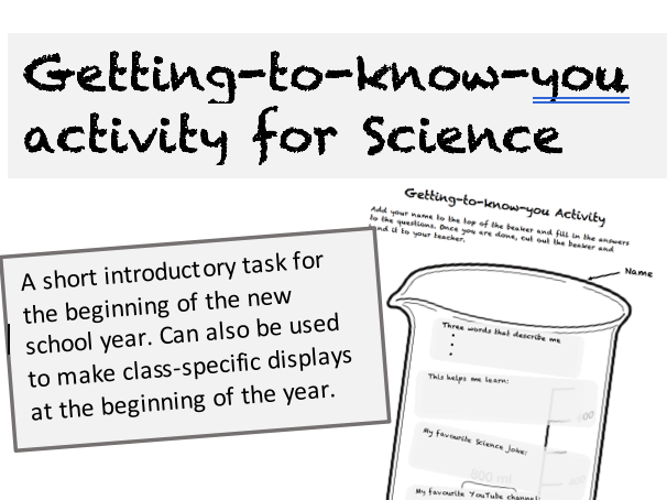 Getting-to-know-you activity for Science