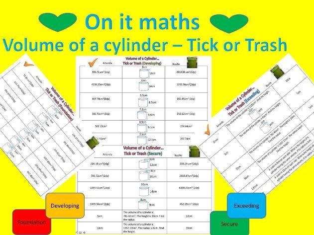 Volume of Cylinder - Tick or Trash ( 4 levels)