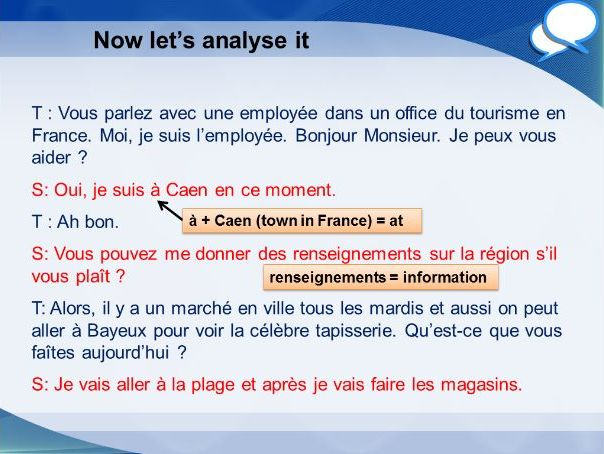 French GCSE Higher role play tourist office