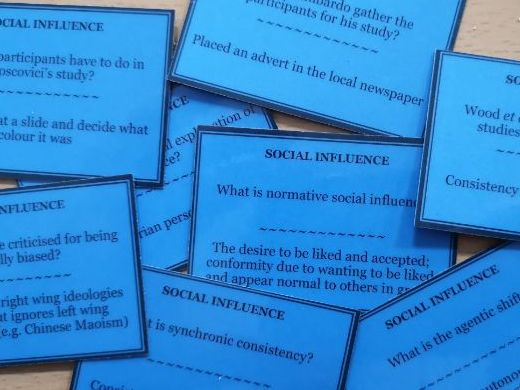 Social Influence question pack (94 cards) [AQA A Level Psychology]