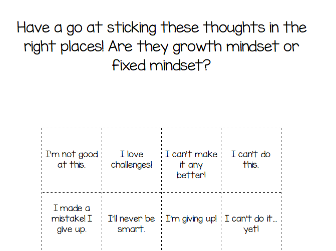 KS1 Growth Mindset Differentiated Worksheets