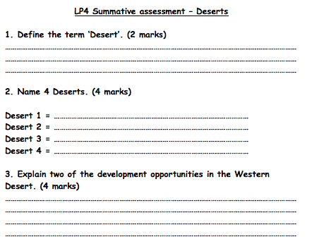 KS3 Deserts - Assessment
