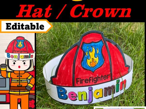 Firefighter Hat Editable Name | Fire Safety Week Craft | Firefighter Craft